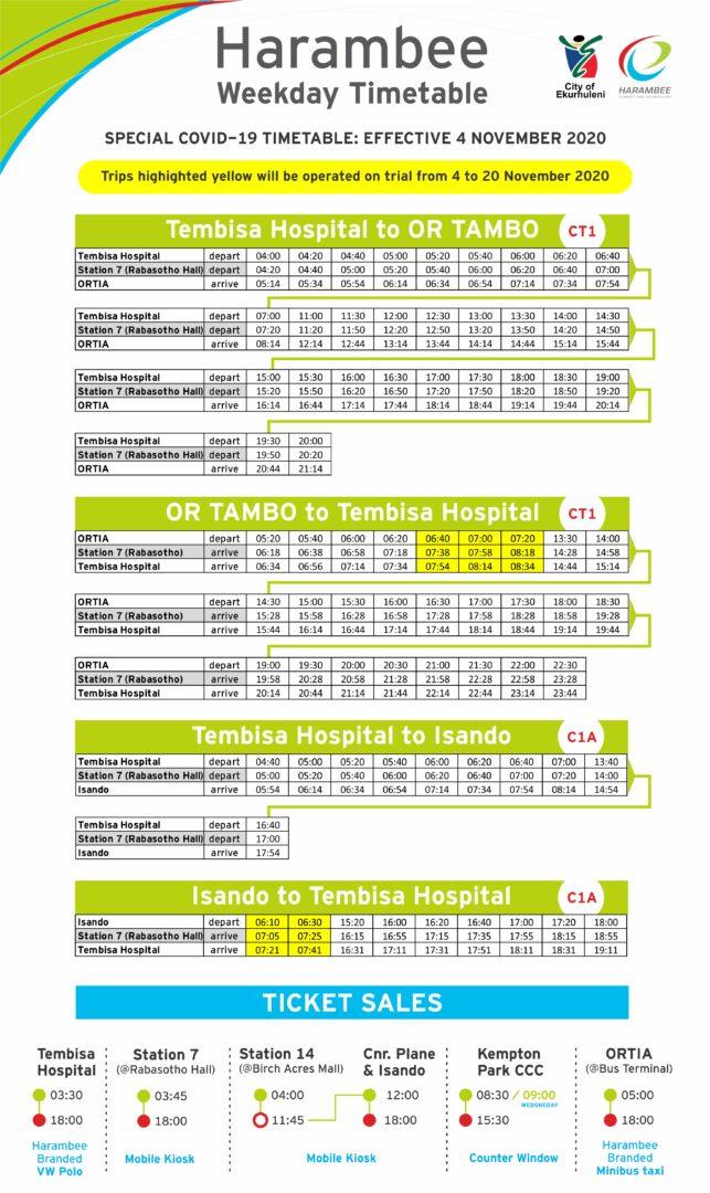 Timetable poster - November 2020