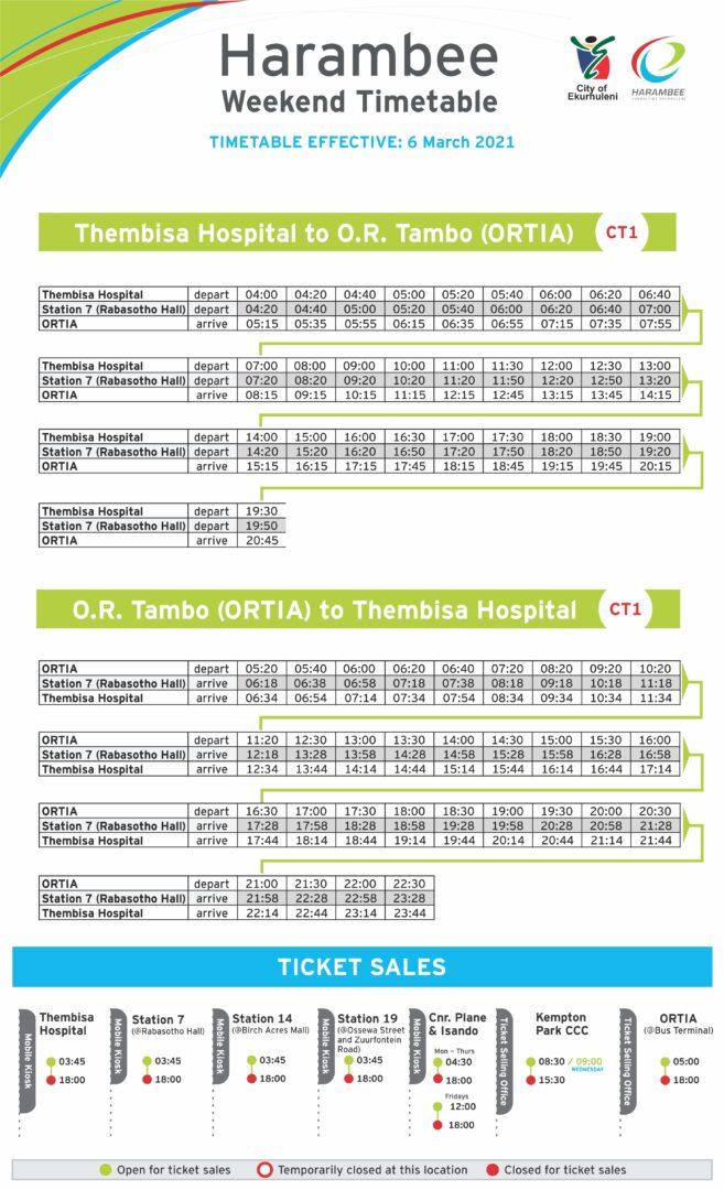 weekend timetable